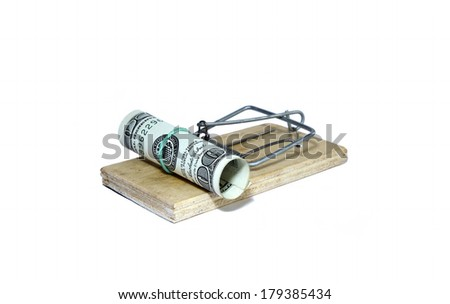 Charged mousetrap with bait in the form of hundred dollar bills isolated - stock photo