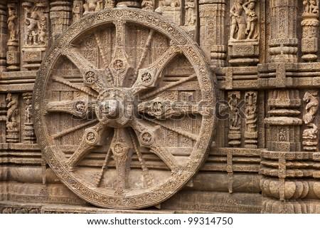 Chariot Wheel, Konark Sun Temple, Orissa - India - stock photo