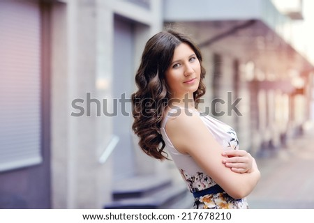 Charisma. Individuality. Young Woman with Curly Hairs  - stock photo