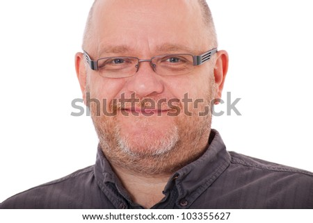 Charismatic adult man. All on white background.