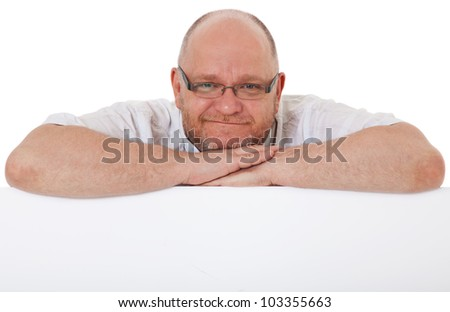 Charismatic adult man behind blank white sign. All on white background.