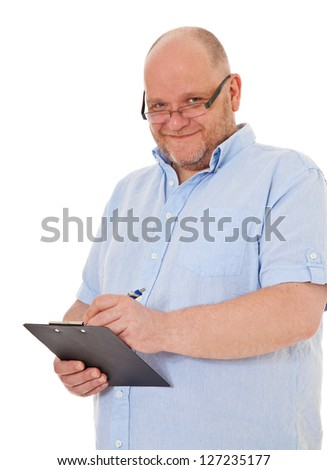 Charismatic adult man writing on clipboard. All on white background.