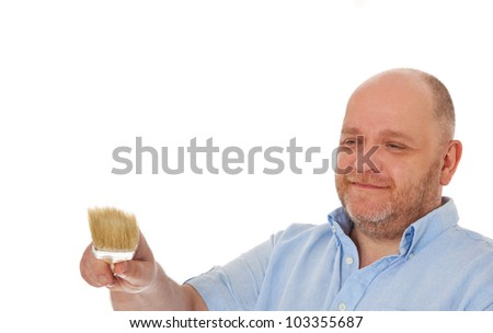 Charismatic baker holding bread. All on white background.