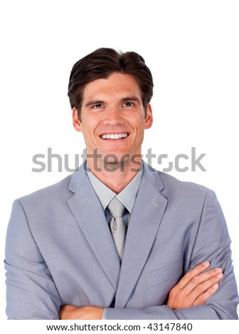 Charismatic businessman with folded arms against a white background
