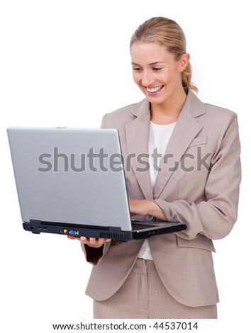 Charismatic businesswoman using a laptop isolated on a white background - stock photo
