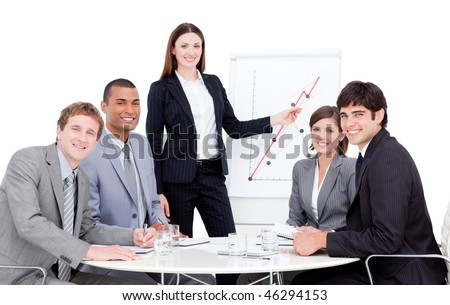 Charismatic manager giving a presentation to her colleagues