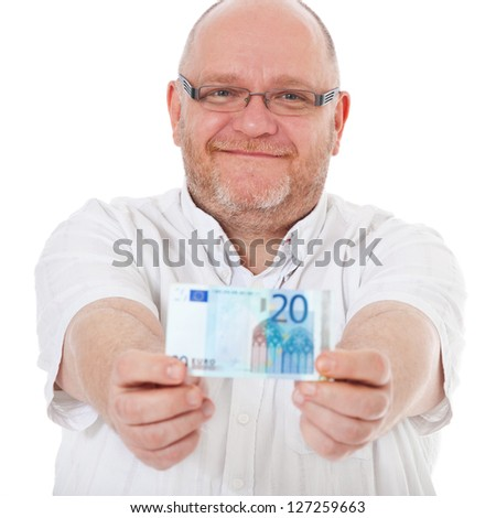 Charismatic middle aged man holding 20 euro note. All on white background.
