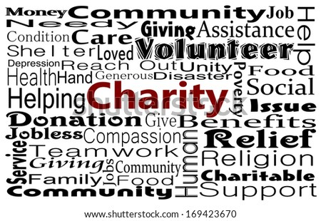 Charity and giving word cloud. Its time to give - stock photo