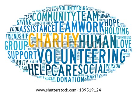 Charity concept in word collage - stock photo