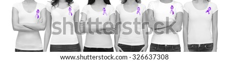 charity, people, health care and social issue concept - monochrome close up of woman with purple domestic violence awareness ribbon on her chest - stock photo