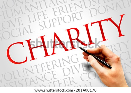 Charity word cloud concept - stock photo