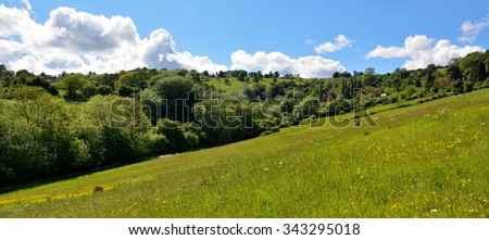 Charlcombe, sweetly situated in a little green valley.  Pasture and woods under a blue sky in Jane Austen's Charlcombe, near Bath, with a person in the distant scene.