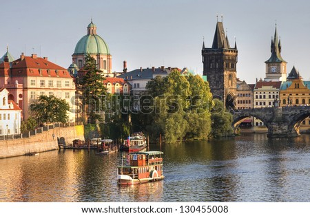 Charles Bridge and architecture of the old town in Prague, Czech republic. - stock photo
