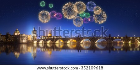 Charles Bridge and beautiful fireworks in Prague at night, Czech Republic - stock photo