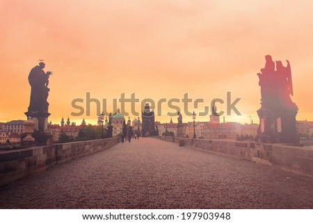 Charles bridge at dawn, Prague, Czech Republic - stock photo