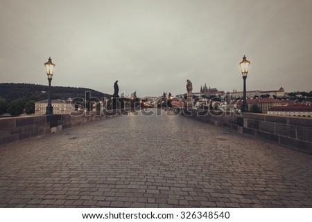 Charles Bridge at early morning, Prague, Czech Republic