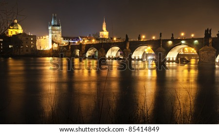Charles Bridge at night, Prague, Czech Republic.
