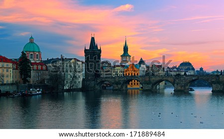 Charles Bridge at sunset. Prague.Czech Republic  - stock photo
