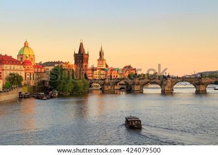 Charles Bridge at sunset. Prague.Czech Republic - stock photo