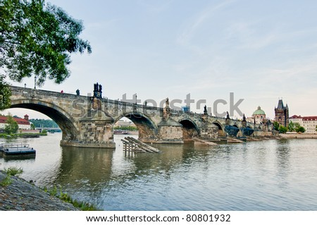 Charles Bridge crossing Vltava river as seen from Mala Strana
