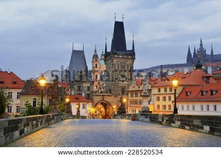 Charles bridge early in the morning. Prague - stock photo