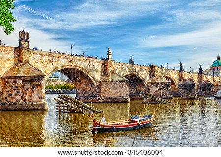 Charles Bridge from the quay of the Vltava River,from Lesser Town of Prague side.Czech Republic. - stock photo