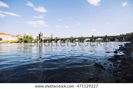 charles bridge from the river side in prague