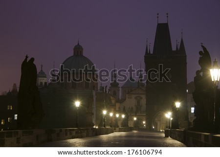 Charles Bridge in Prague at dawn