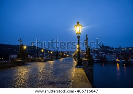Charles Bridge in Prague at dawn Czech Republic