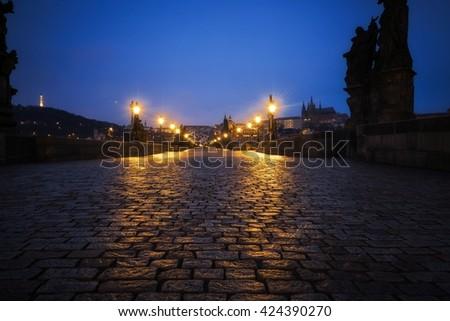 Charles Bridge in Prague at dawn Czech Republic - stock photo