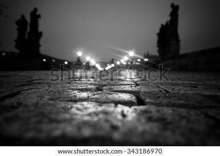 Charles Bridge in Prague at dawn Czech Republic in black and white - stock photo