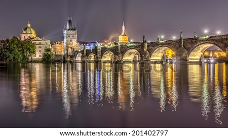 Charles bridge in Prague at night, Czech Republic. Hdr image.