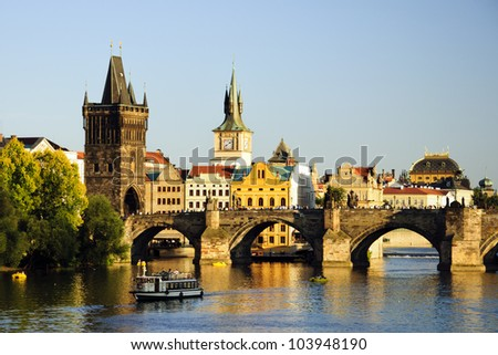 Charles bridge in Prague at sunset - stock photo