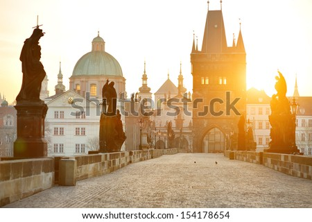 Charles Bridge (Karluv Most) and Lesser Town Tower, Prague, Czech Republic - stock photo