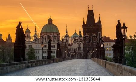 Charles bridge (Karluv most), Prague, Czech republic - stock photo