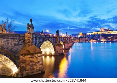 Charles bridge, Moldau river, Lesser town, Prague castle, Prague (UNESCO), Czech republic - stock photo