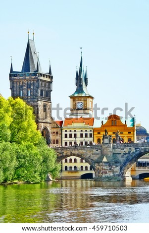 Charles bridge (or Karluv most), a famous historic bridge that crosses Vltava river in Prague (Praha), Czech Republic (Ceska Republika), Bohemia region