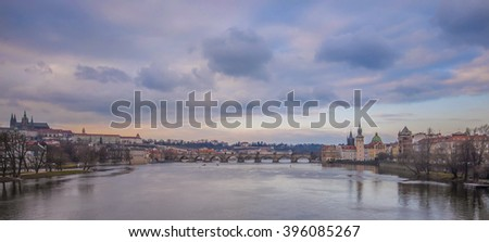 Charles Bridge over Vltava river in Prague, Czech Republic.