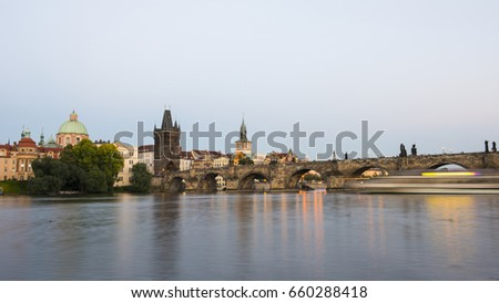 Charles Bridge. Prague cityscape at sunset. Czech Republic.