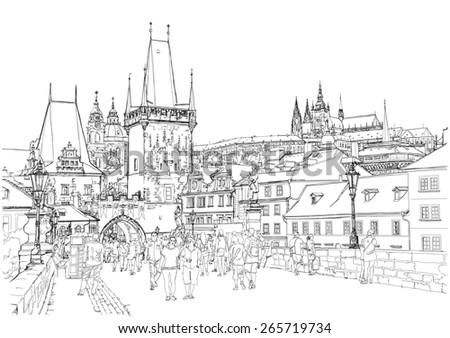 Charles Bridge - Prague, Czech Republic - stock photo