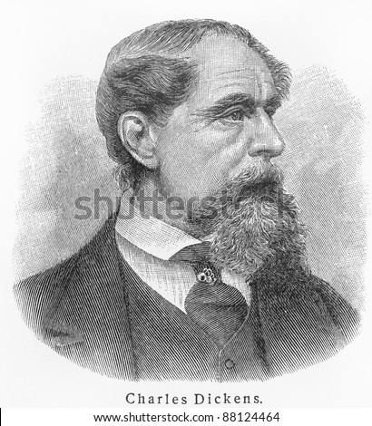 Charles Dickens - Picture from Meyers Lexicon books written in German language. Collection of 21 volumes published  between 1905 and 1909.