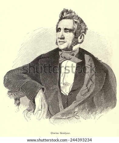 Charles Goodyear (1800-1860) discovered the rubber vulcanizing process in 1839. In 1844 he received a U.S. Patent for the process, which heated natural rubber with sulfur. - stock photo