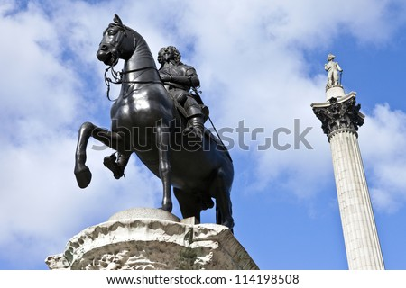 Charles I Statue and Nelson's Column in Trafalgar Square - stock photo