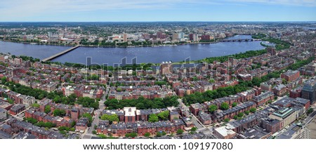 Charles River aerial view panorama with Boston midtown city skyline and Cambridge district. - stock photo
