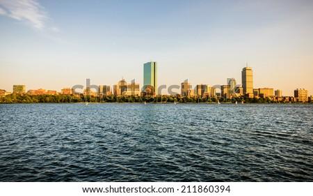 Charles River and Boston Skyline - stock photo