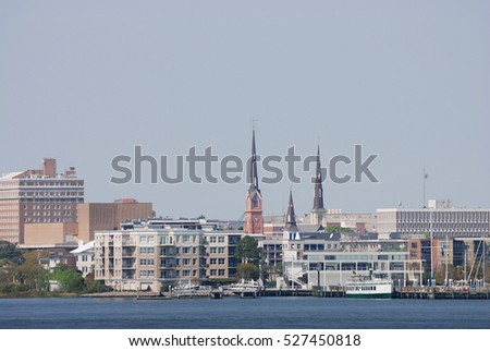 Charleston cityscape and river view