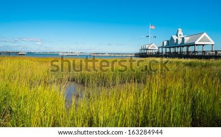 Charleston harbor by Waterfront park in downtown Charleston, South Carolina. - stock photo