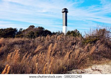 Charleston lighthouse located on Sullivan's Island in South Carolina - stock photo