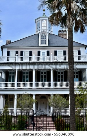 CHARLESTON, SC, USA - APRIL 15, 2017: Old colonial style home in