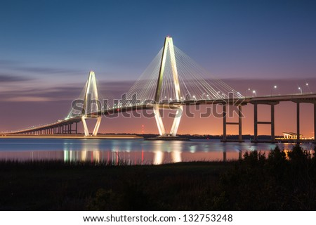 Charleston South Carolina Arthur Ravenel Jr. Cooper River Cable-Stay Bridge - stock photo